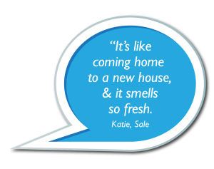 Speech Bubbles - It's like coming home to a new house, & it smells so fresh